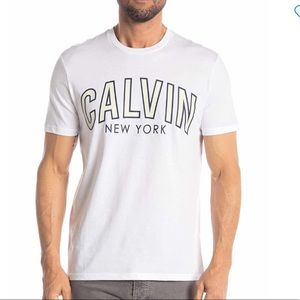 MENS CALVIN KLEIN OUTLINED LOGO GRAPHIC T-SHIRT LG